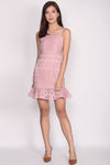 Bautrice Lace Mermaid Dress In Blush