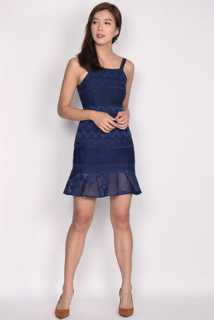 Bautrice Lace Mermaid Dress In Navy Blue