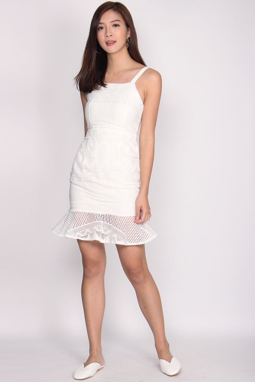 Bautrice Lace Mermaid Dress In White