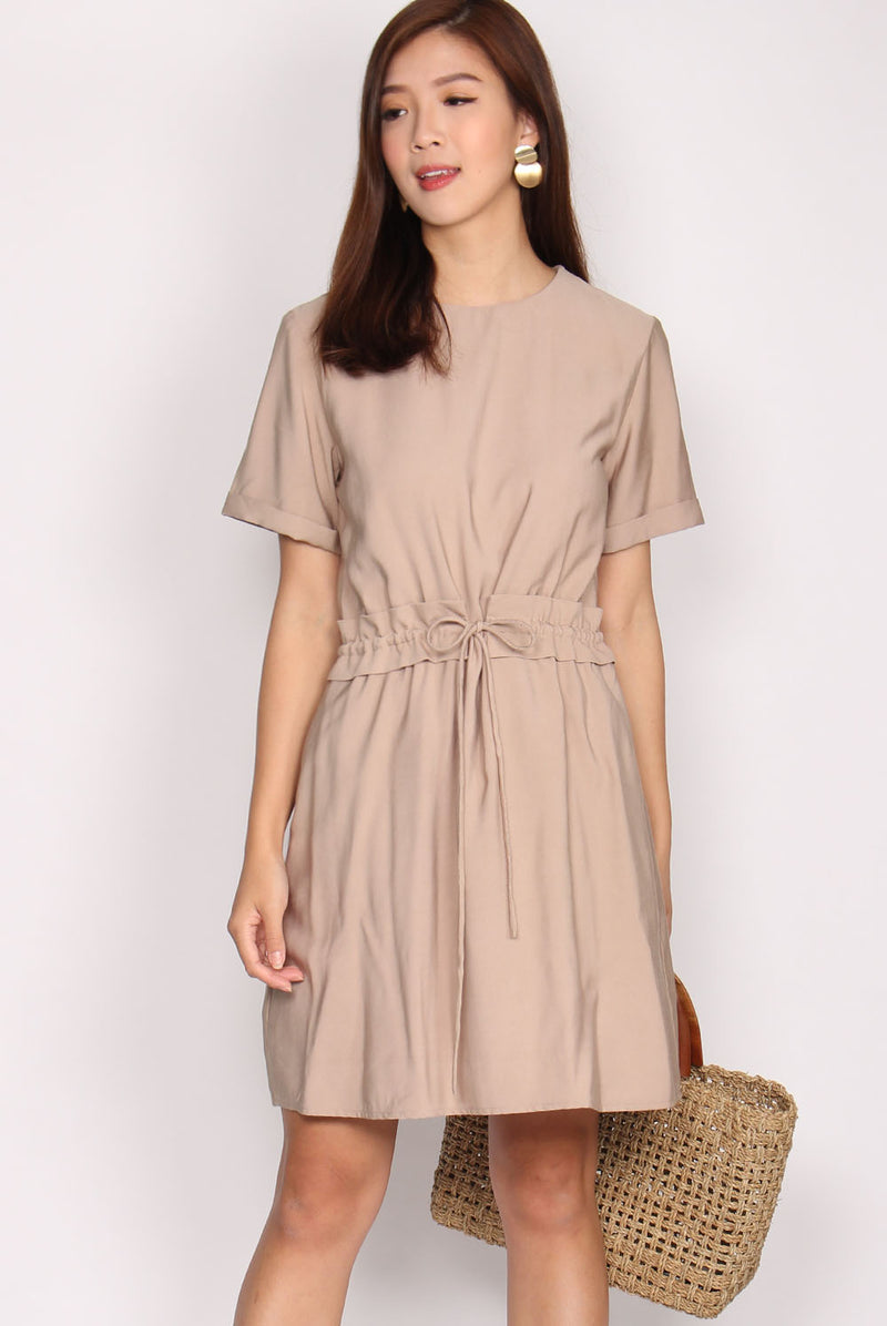 Baylee Drawstring Dress In Beige