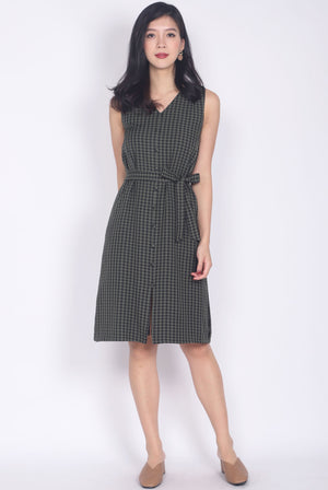 Beckett Gingham Ruffle Shoulder Dress In Olive