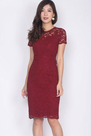 Bedelia Lace Sleeved Pencil Dress In Wine Red