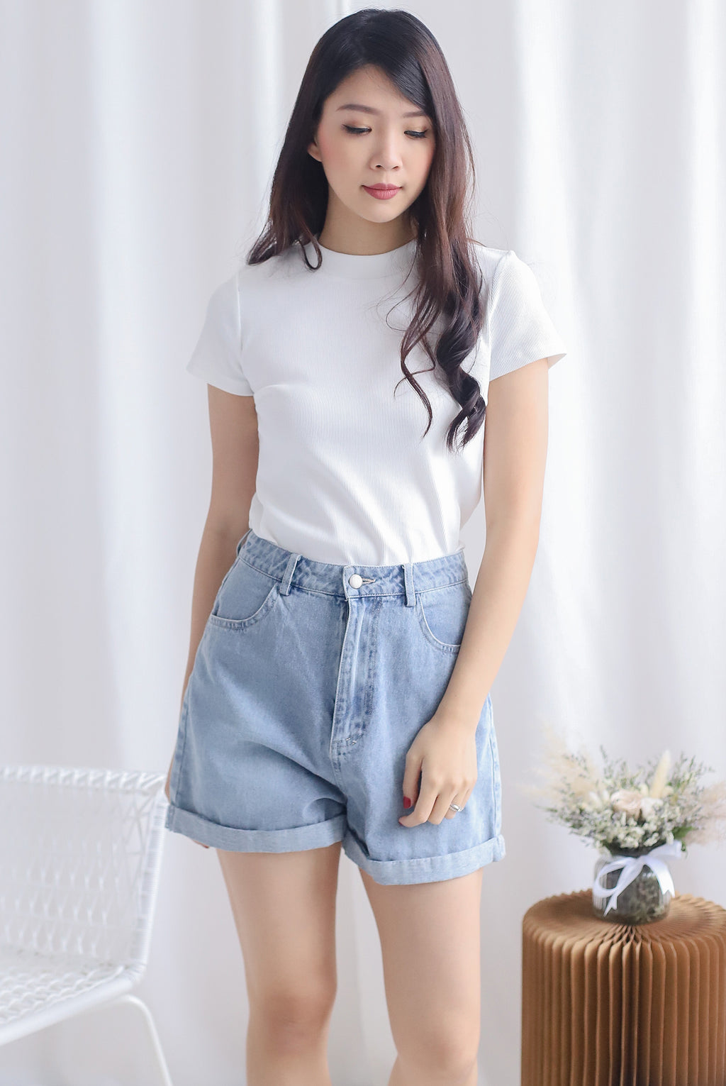 Begonia Basic Sleeve Top In White
