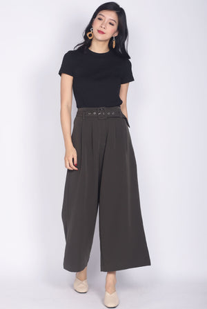 Oriane Buckle Culottes In Olive
