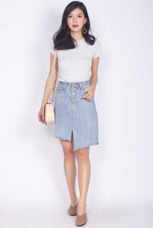 Begonia Basic Sleeve Top In Grey