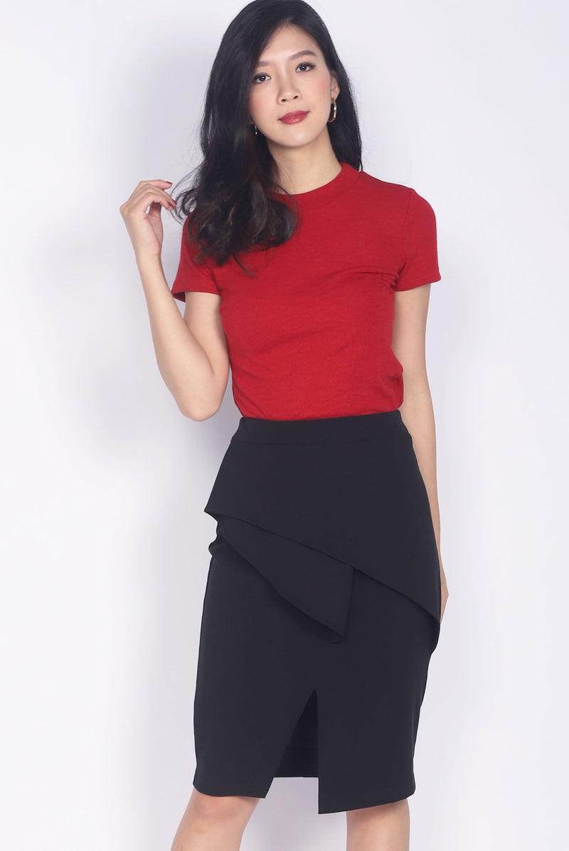 Begonia Basic Sleeve Top In Wine Red