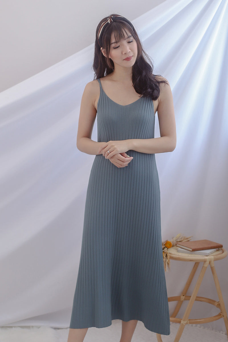 *Backorder II* Beka Knited Dress In Steel Blue
