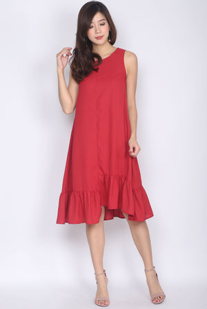 Belicia Sleeveless Ladder Midi Dress In Wine Red