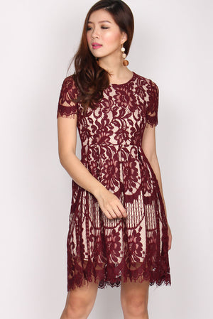 Bellamy Lace Sleeve Dress In Deep Red