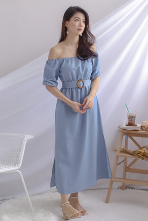 Belle Wooden Ring Off Shoulder Dress In Blue
