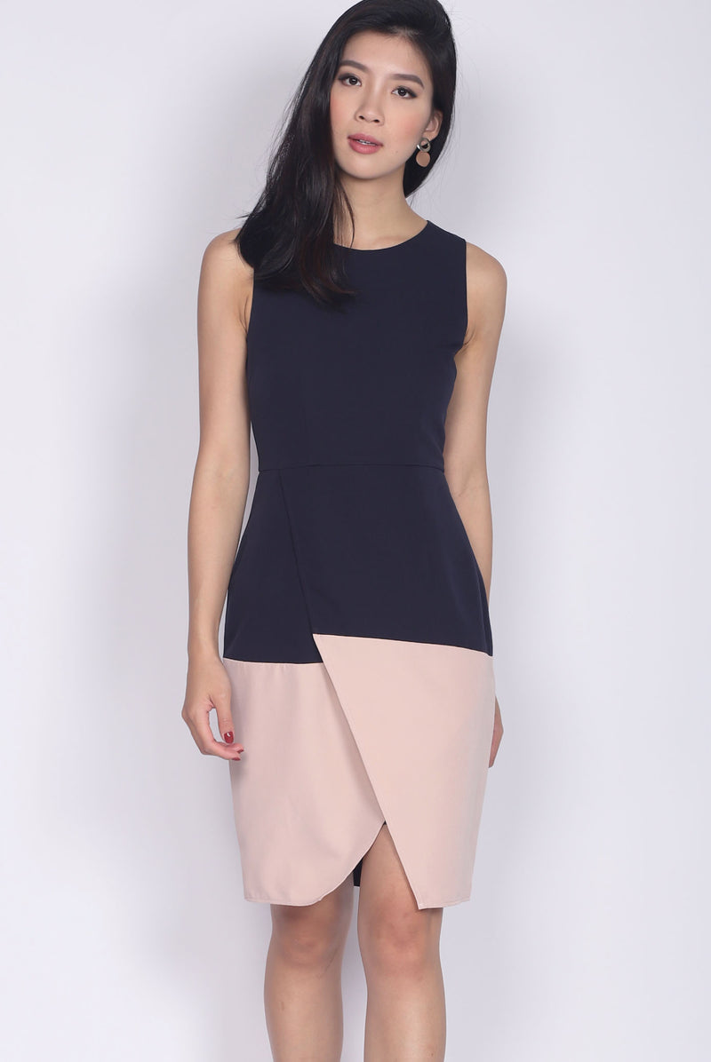 Bellicent Overlap Colour Block Dress In Navy/Pink