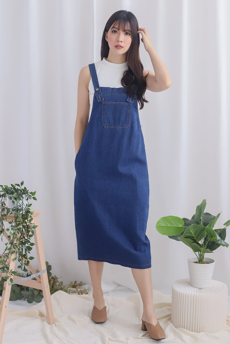Bellis Denim Midi Dungaree In Dark Wash