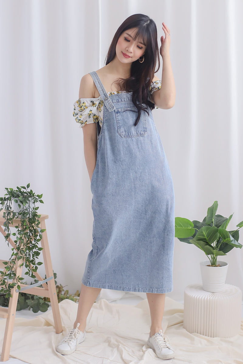 Bellis Denim Midi Dungaree In Light Wash