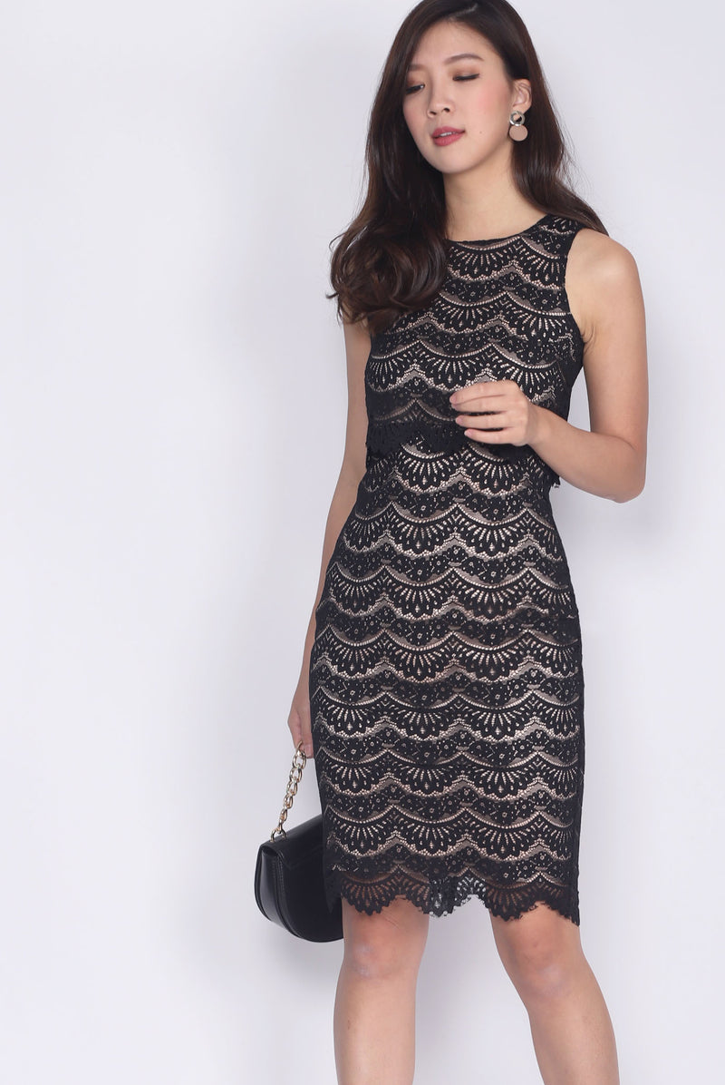 *Restock* Bellona Tier Lace Dress In Black
