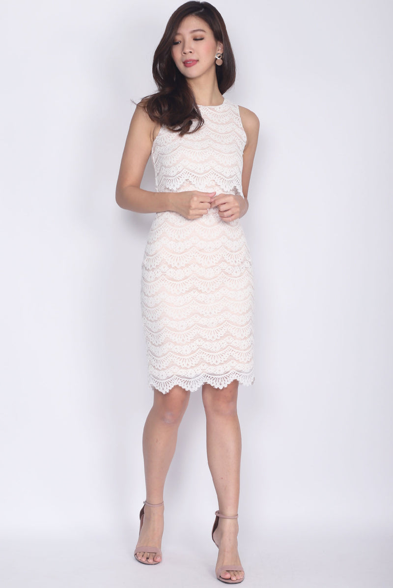 *Restock* Bellona Tier Lace Dress In White