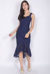 *Premium* TDC Belmira Lace Mermaid Dress In Navy Blue