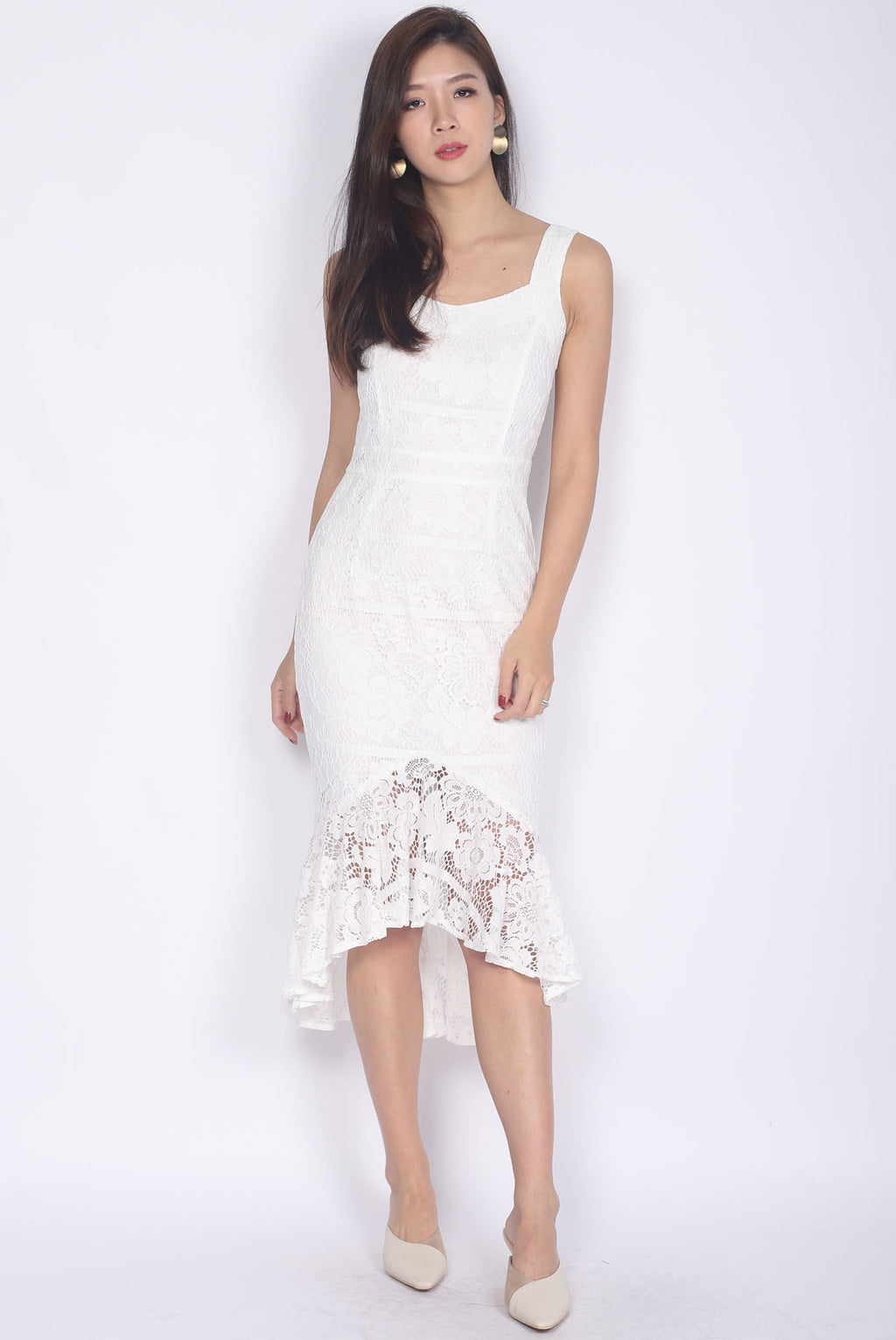 [Exclusive] *Premium* Belmira Lace Mermaid Dress In White