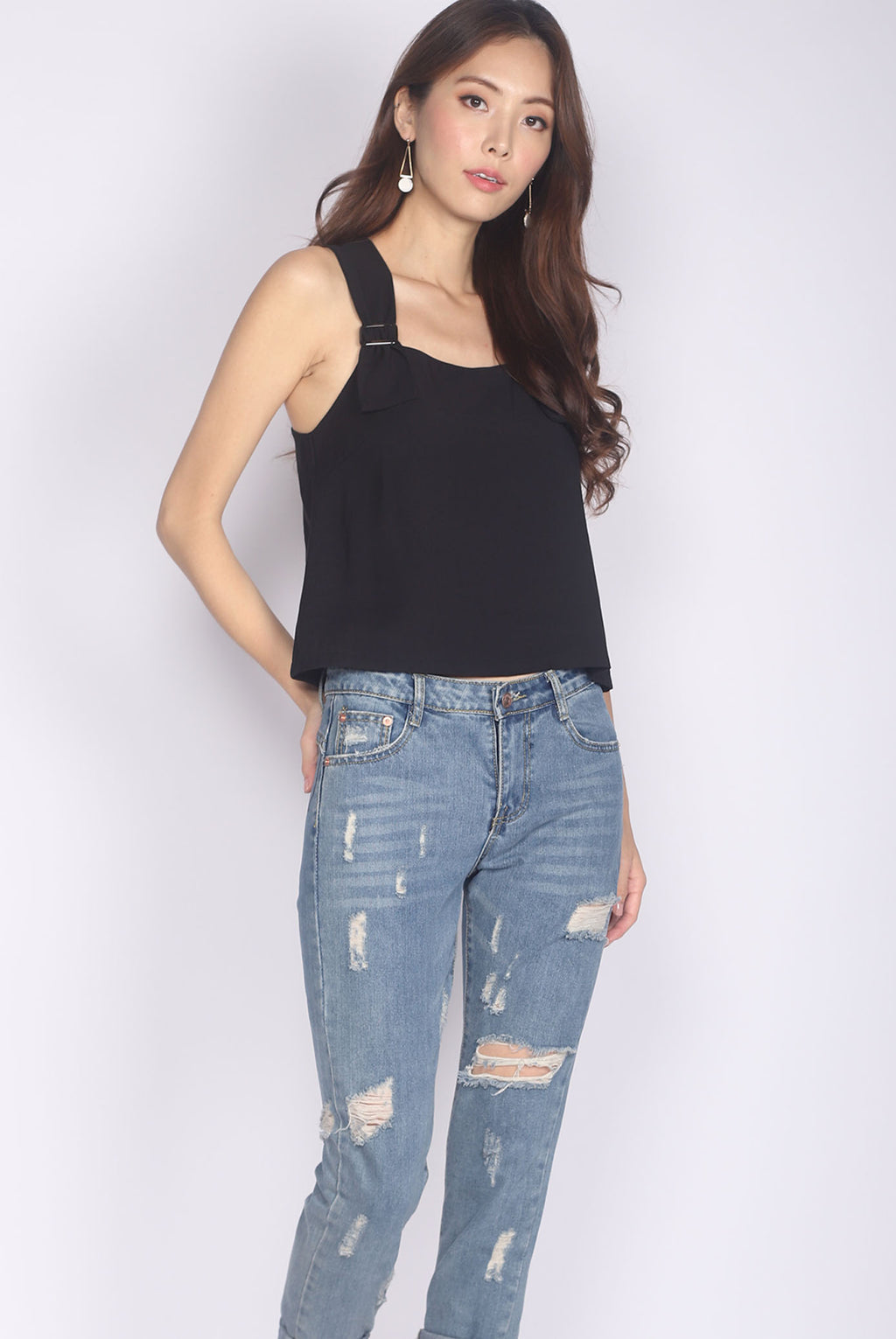 Benicia Buckle Strap Top In Black