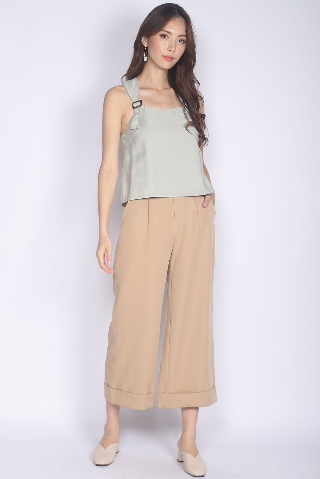 Benicia Buckle Strap Top In Sage