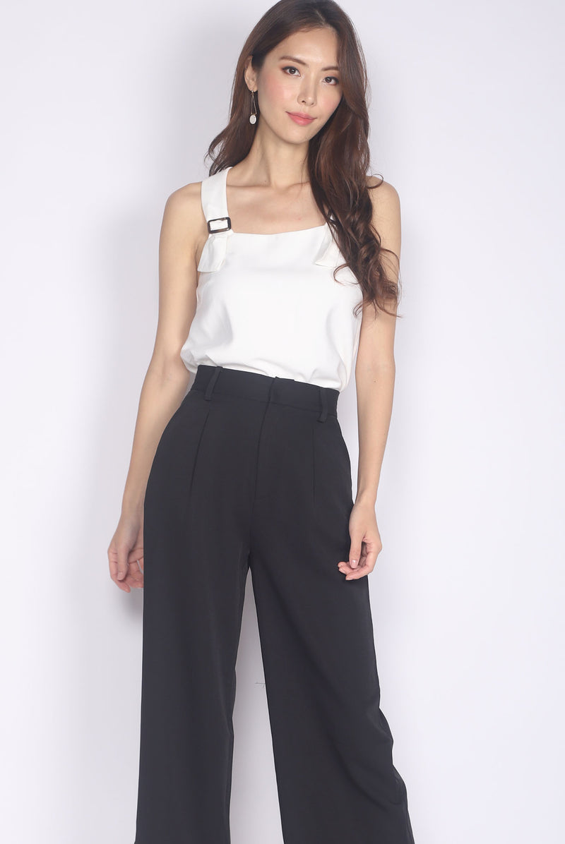 Benicia Buckle Strap Top In White