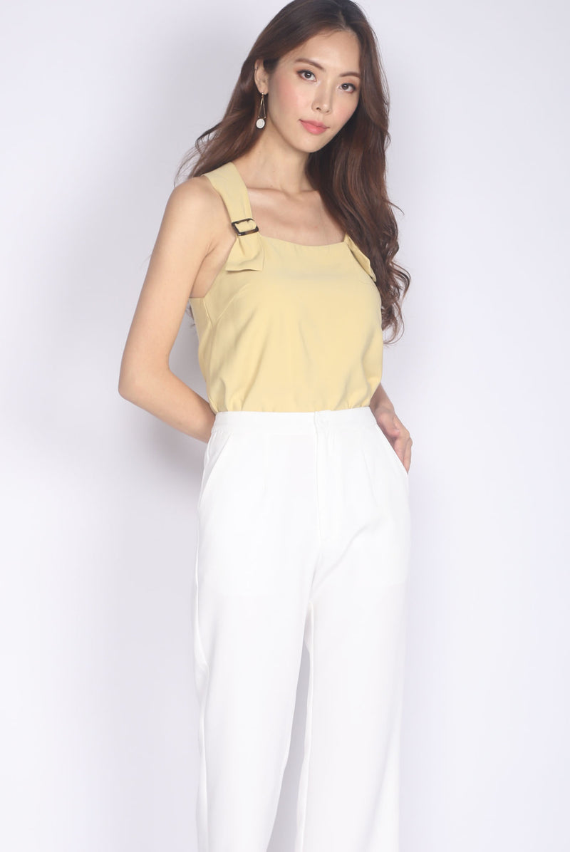 Benicia Buckle Strap Top In Mustard