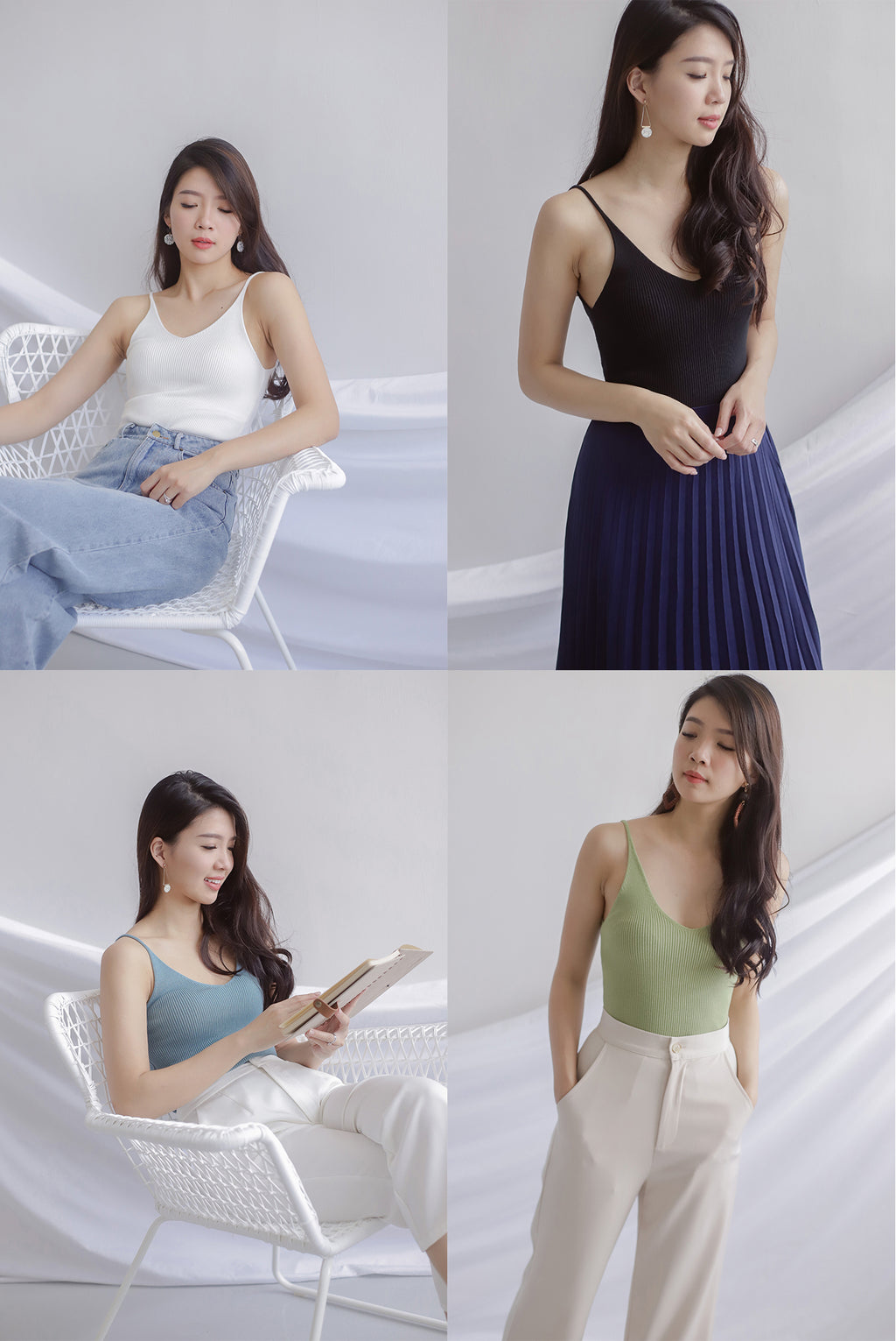 Bennie Ribbed Camisole Top In 4 Colours Bundle