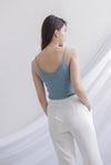 *Restocked* Bennie Ribbed Camisole Top In Ash Blue