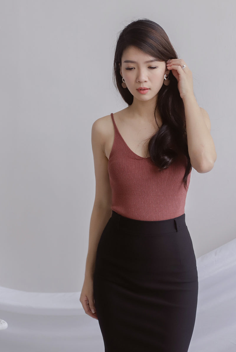 *Backorder II* Bennie Ribbed Camisole Top In Brick