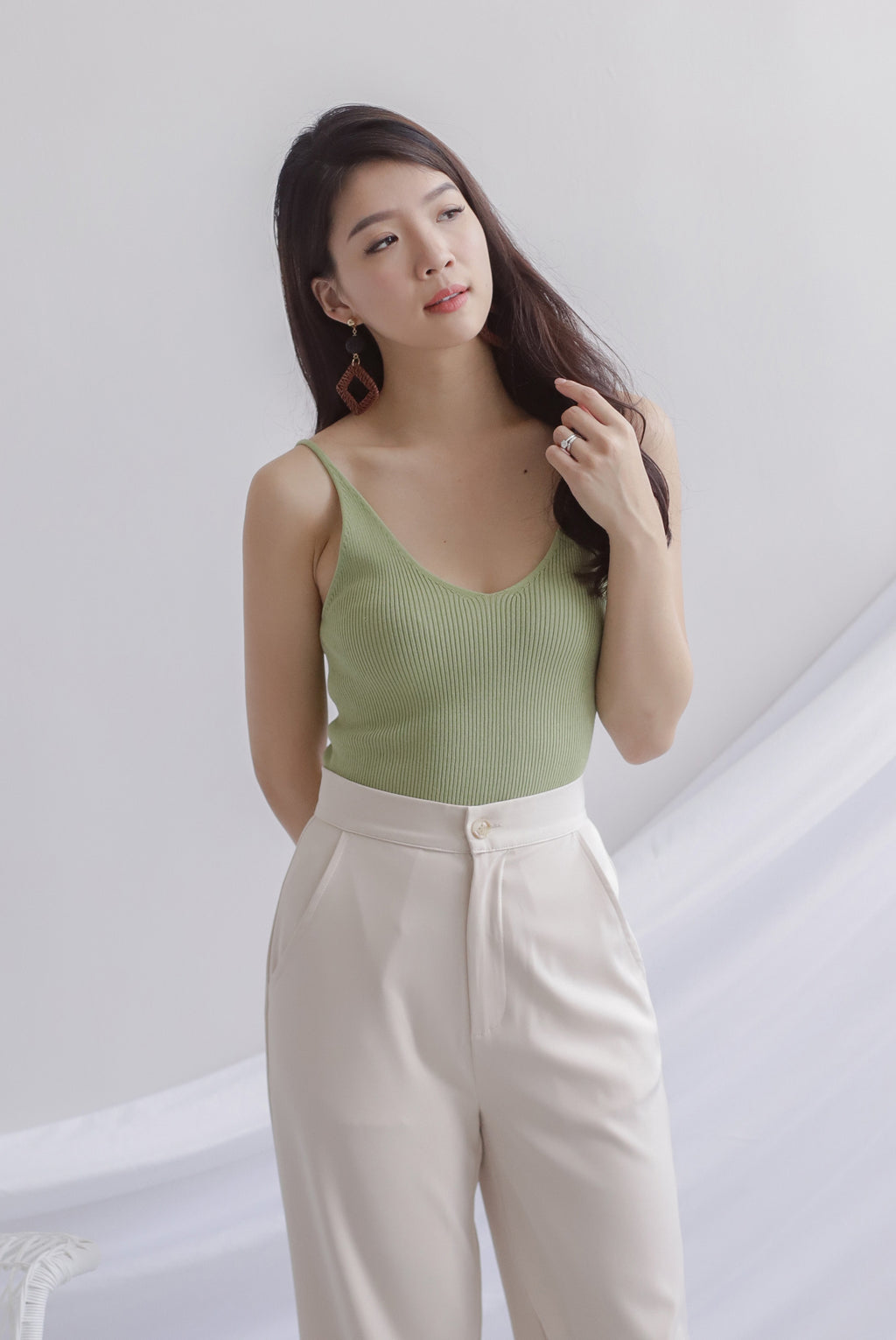 *Restocked* Bennie Ribbed Camisole Top In Green Apple