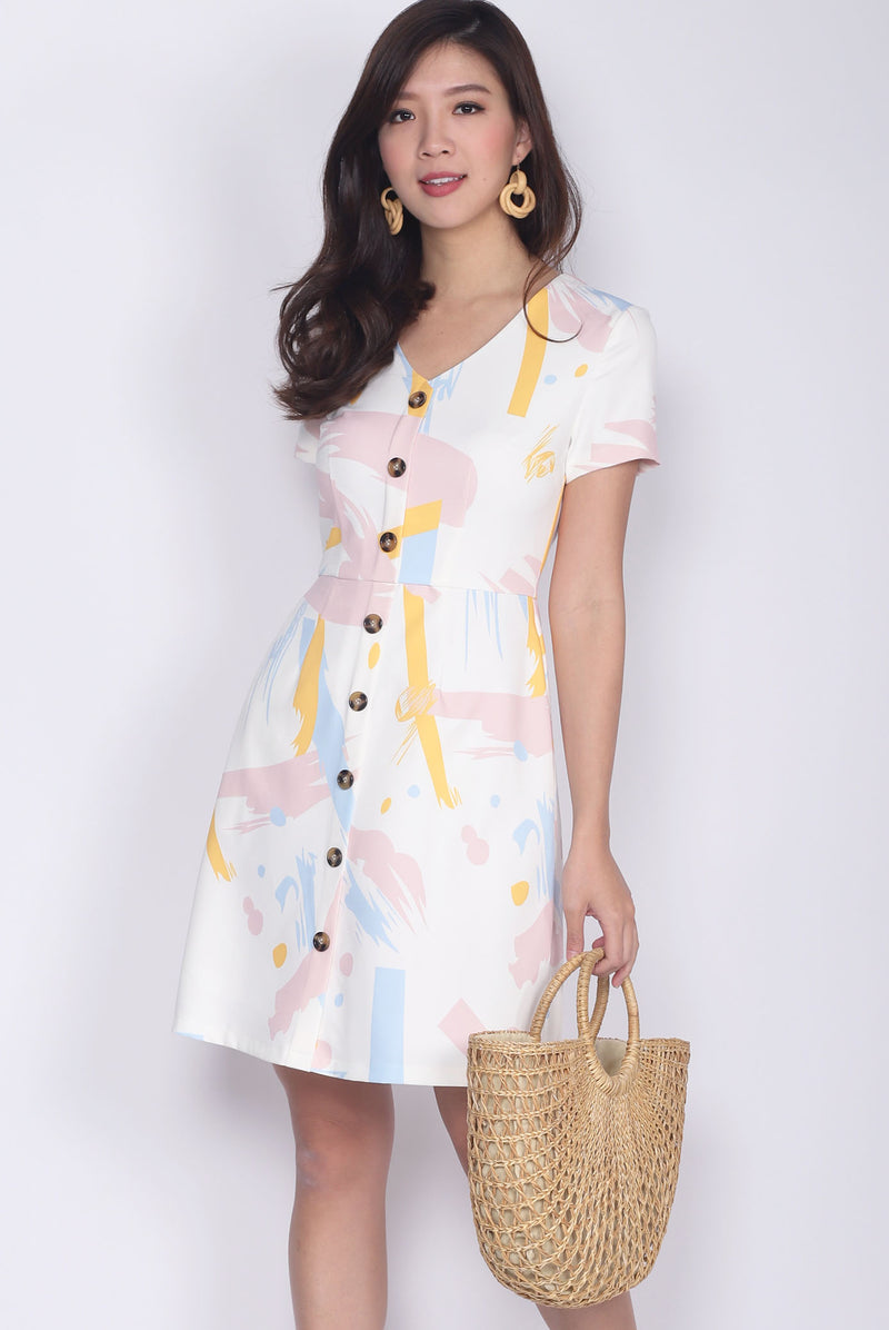 *BACKORDER* Beryan Colourful Paint Sleeved Buttons Dress In White