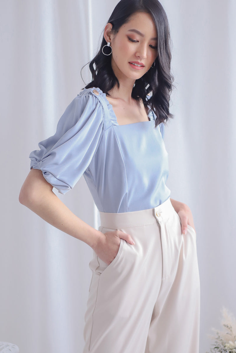 *Premium* Bess Puffy Twist Sleeve Top In Blue