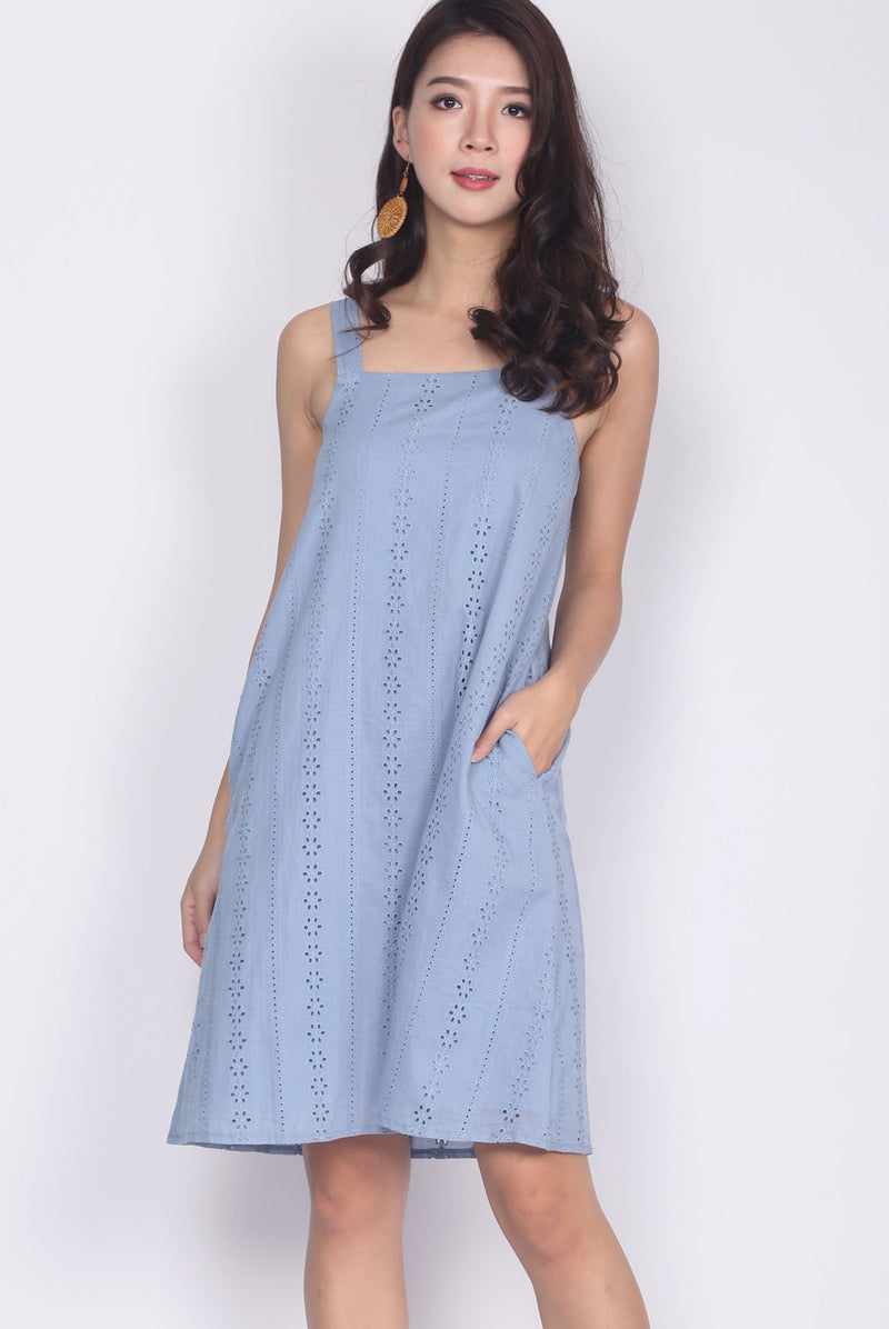 Bessie Eyelet Square Neckline Trapeze Dress In Blue