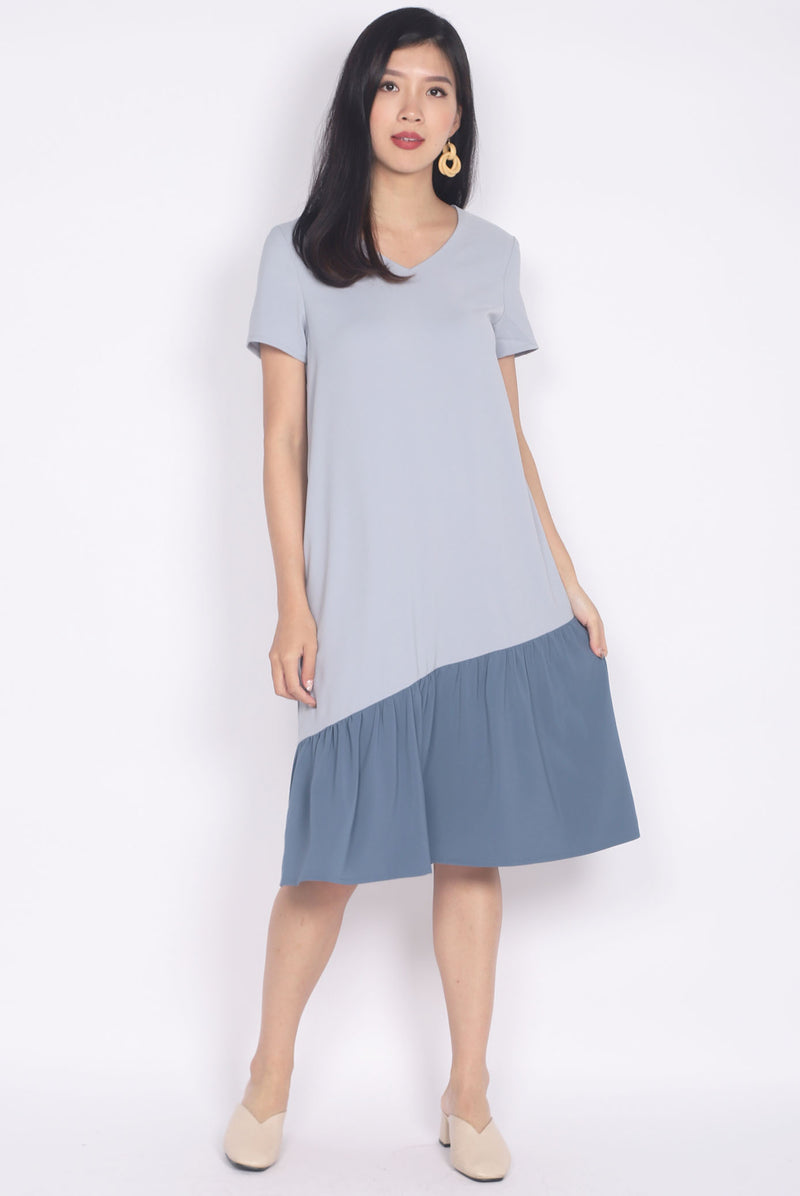 Betsy Asymm Sleeved Dress In Blue