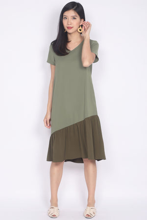 Betsy Asymm Sleeved Dress In Olive