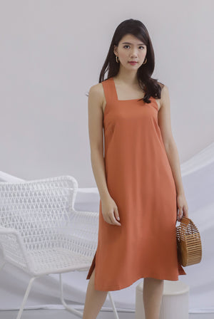 Bette V Back Midi Dress In Apricot