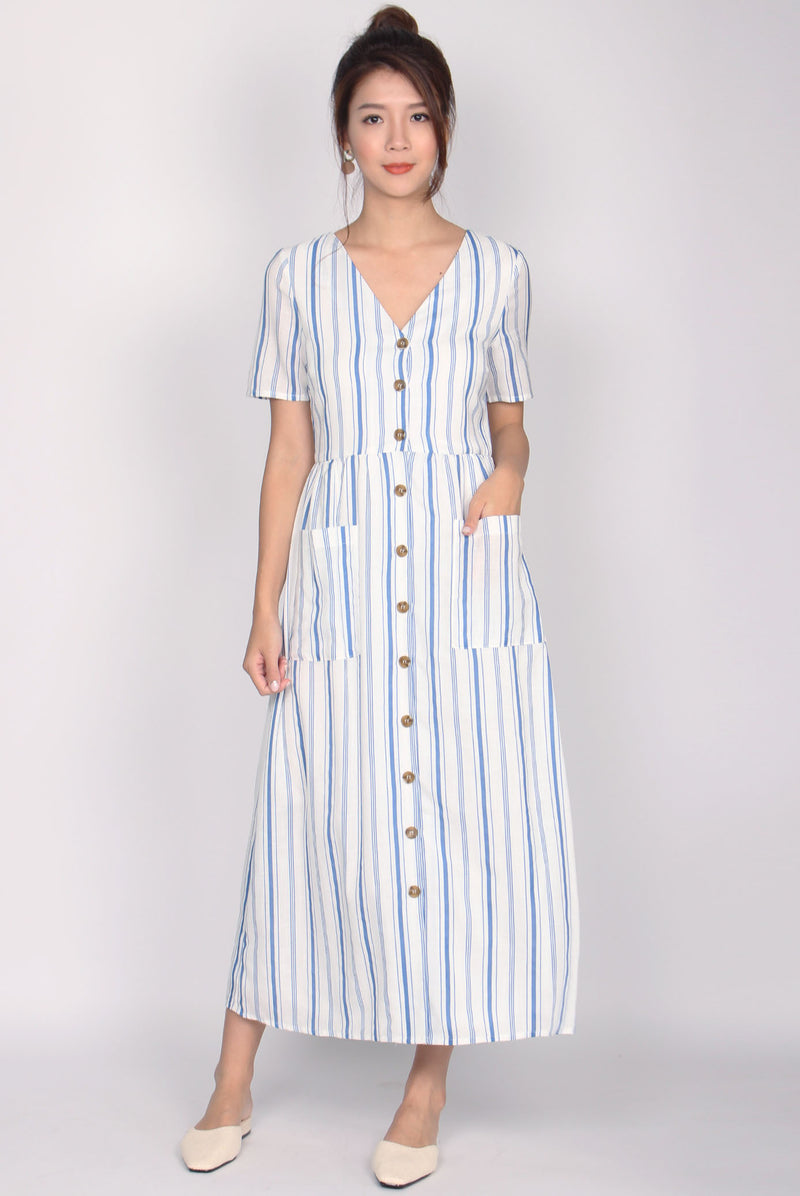 Blaire Buttons Down Pockets Dress In Blue Stripes