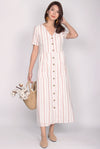 Blaire Buttons Down Pockets Dress In Pink Stripes