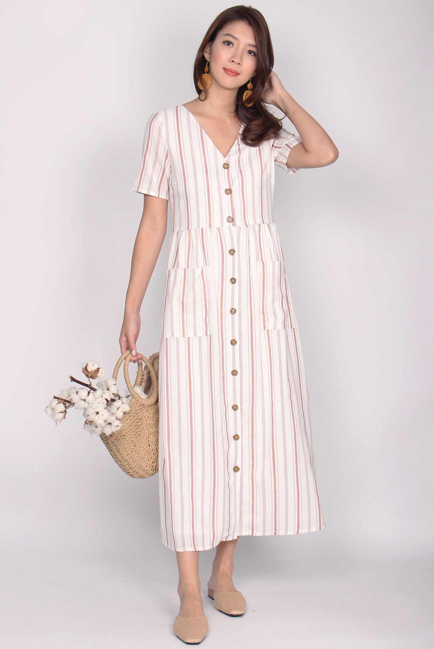 8dfe01d8c4a Blaire Buttons Down Pockets Dress In Pink Stripes – The Design Closets