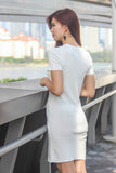 Blanche Cut Out Knit Dress In White