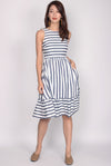 Blennie Ruffle Hem Dress In Blue Stripes