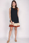 Blerte Ruffle Hem Colour Block Dress In Black/Rust