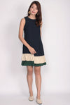Blerte Ruffle Hem Colour Block Dress In Navy/Forest Green