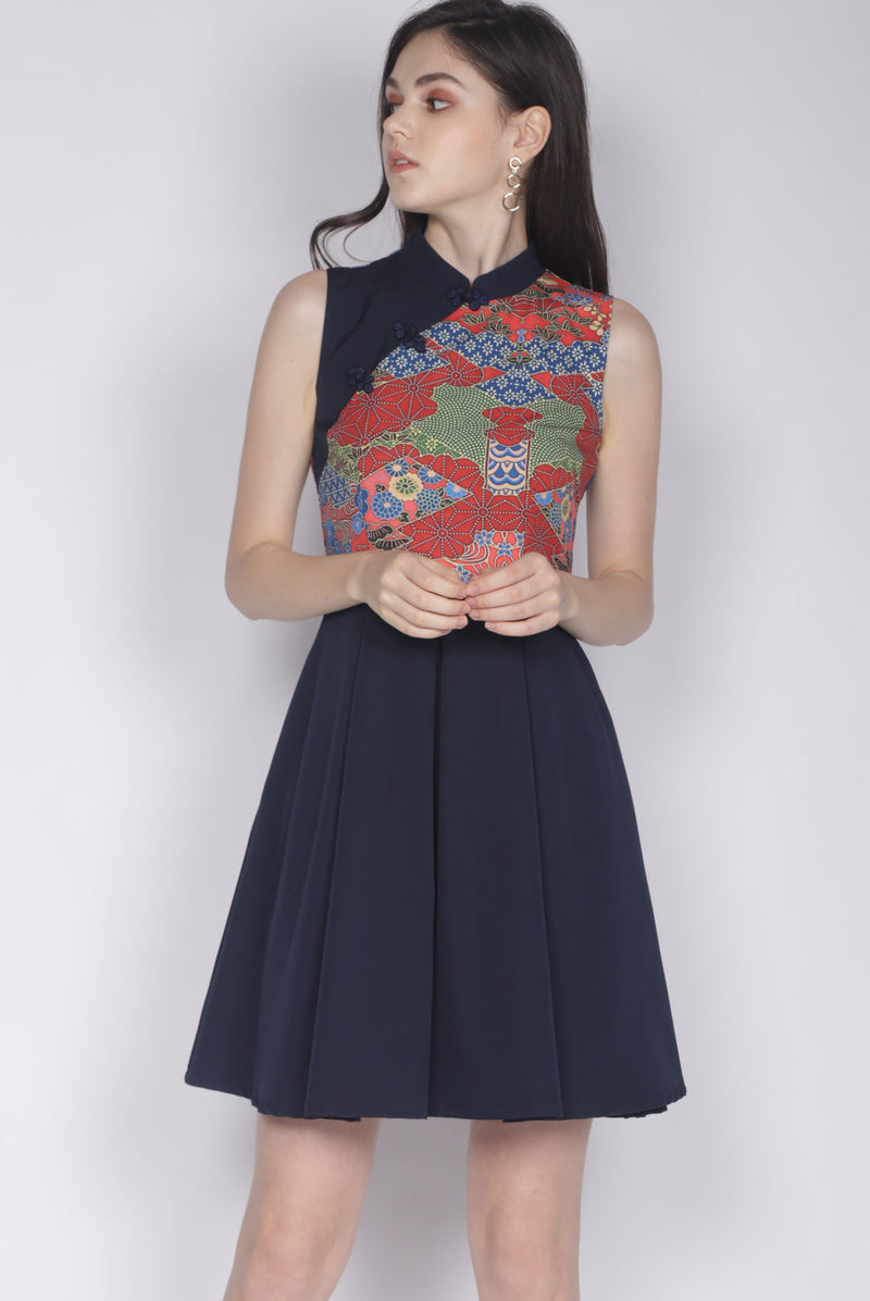 Bliss Oriental Prints Cheong Sam Dress In Navy Blue