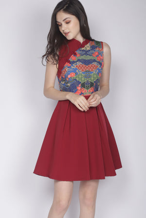 Bliss Oriental Prints Cheong Sam Dress In Wine Red