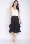 Bluebell Pleated Tiered Skirt In Black
