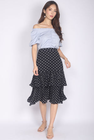 Bluebell Pleated Tiered Skirt In Polkadot