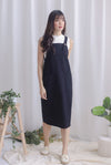 *Restocked* Blyana Dungaree Dress In Black