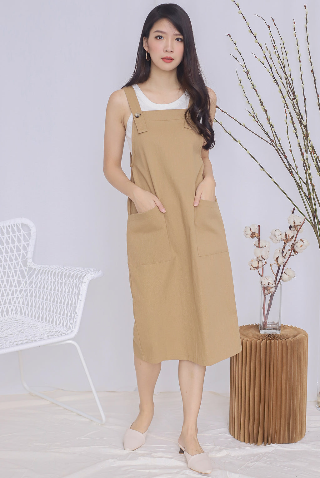 *Restocked* Blyana Dungaree Dress In Camel