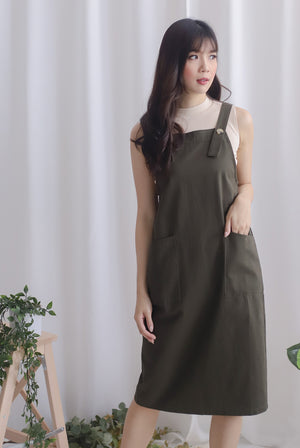 Blyana Dungaree Dress In Olive