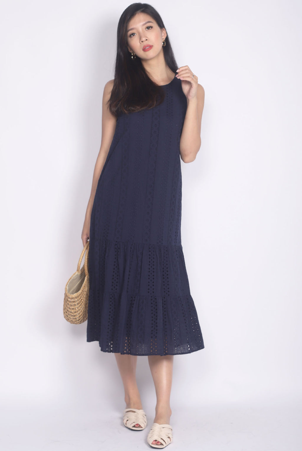 Bobbette Eyelet Midi Dress In Navy Blue